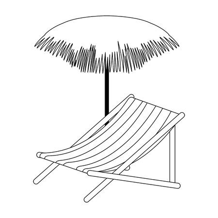 Ligstoel met ontwerp van de paraplu het vectorillustratie
