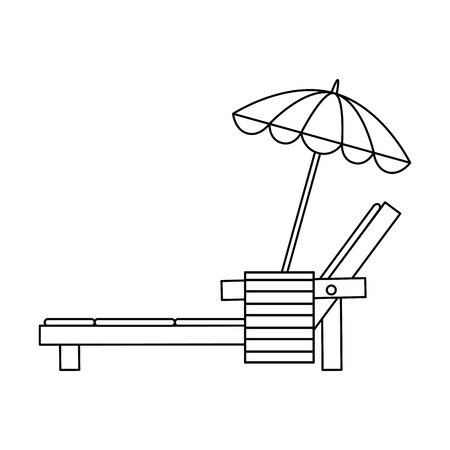 Beach chair with towel and umbrella vector illustration design Çizim