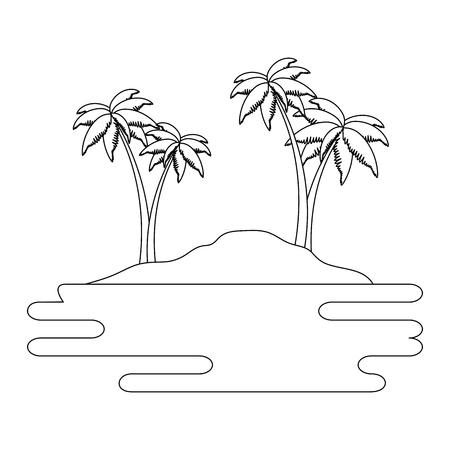 De scène van het strandlandschap met overzees vectorillustratieontwerp