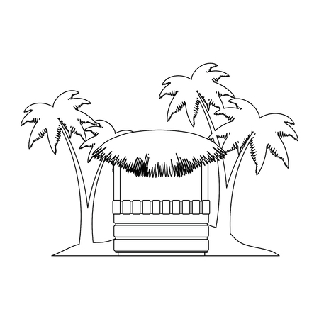 Wooden kiosk and palm leaves on the beach illustration design