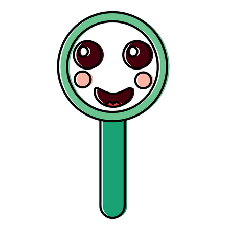 happy magnifying glass kawaii icon image vector illustration design