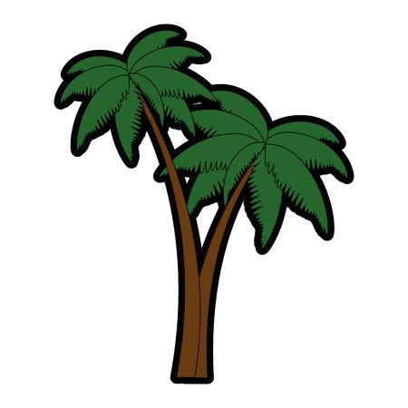 trees palms beach icons vector illustration design