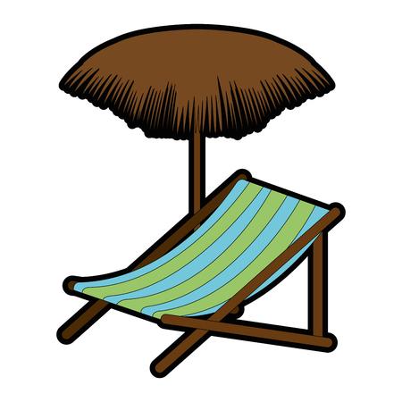Cadeira de praia com guarda-chuva design de ilustração vetorial Foto de archivo - 93727642