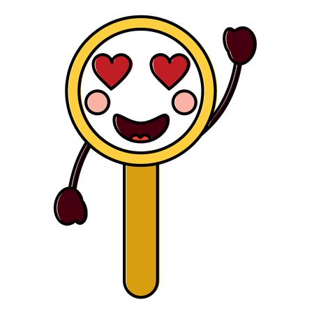 magnifying glass heart eyes kawaii icon image vector illustration design Иллюстрация