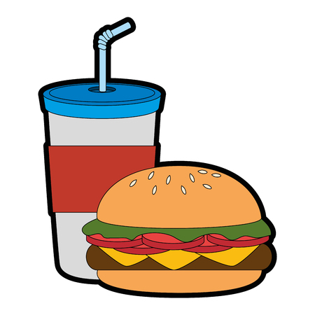 beverage in plastic cup with burger vector illustration design