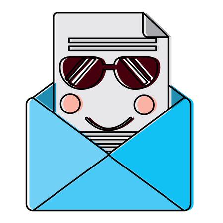 선글라스 아이콘 이미지 벡터 일러스트 디자인으로 메시지 봉투