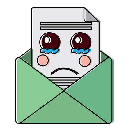 sad message envelope kawaii icon image vector illustration design Vettoriali