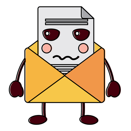 angry message envelope kawaii icon image vector illustration design