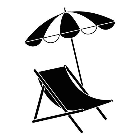 cadeira de praia com guarda-chuva design de ilustração vetorial
