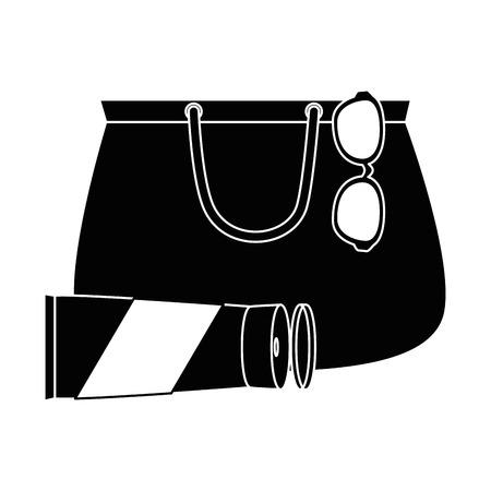 サングラスと日焼け止めベクトルイラストデザインのハンドバッグ女性  イラスト・ベクター素材