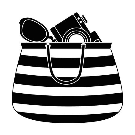 handbag female with camera and sunglasses vector illustration design Illustration