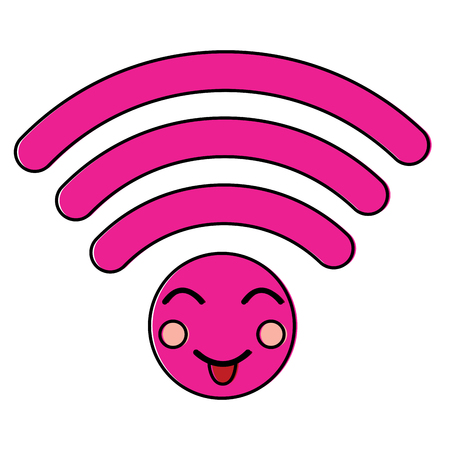 happy WiFi kawaii icon image vector illustration design