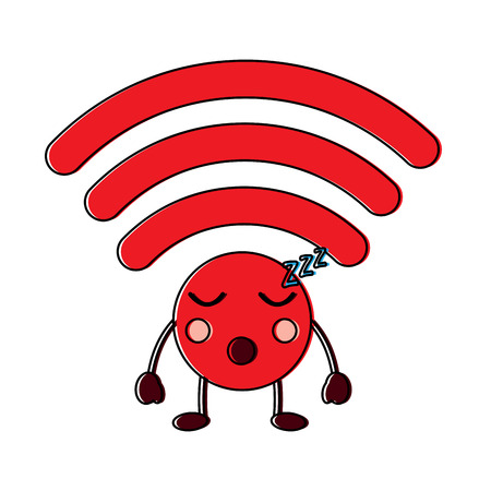 wifi slaap kawaii pictogram afbeelding vector illustratie ontwerp Stock Illustratie