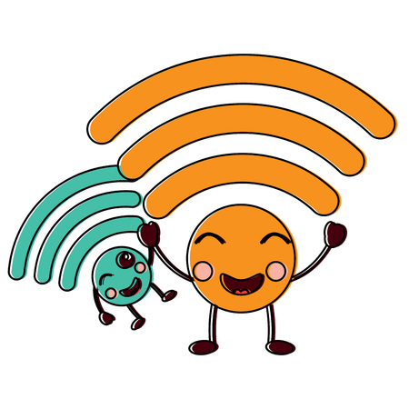 wifi kawaii icon image vector illustration design
