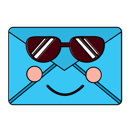 message envelope with sunglasses icon image vector illustration design