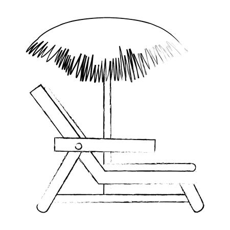 Strandstoel met paraplu vectorillustratie ontwerp Stockfoto - 93727369