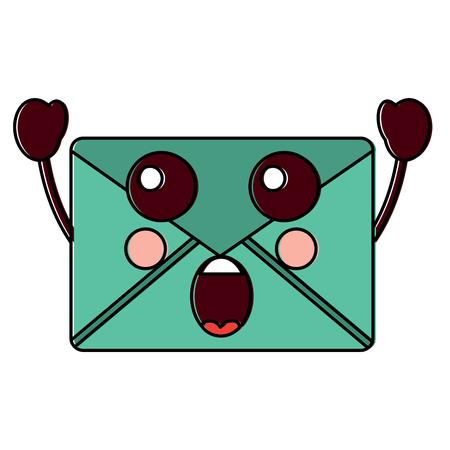 suprised message envelope icon image vector illustration design Stock Illustratie