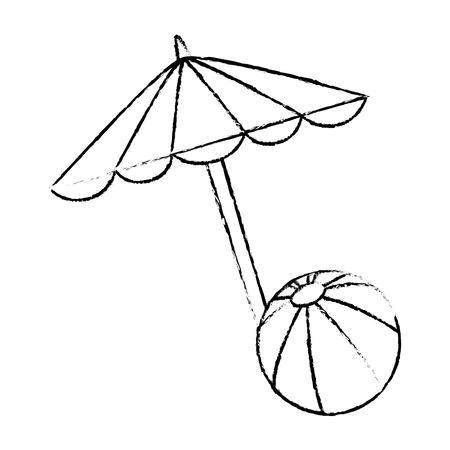 Beach umbrella with balloon vector illustration design