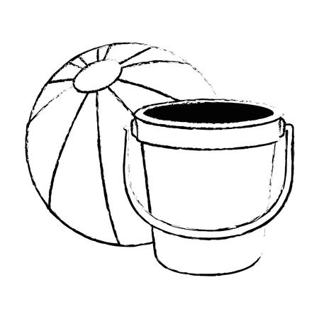 Sand bucket beach with balloon vector illustration design Illustration