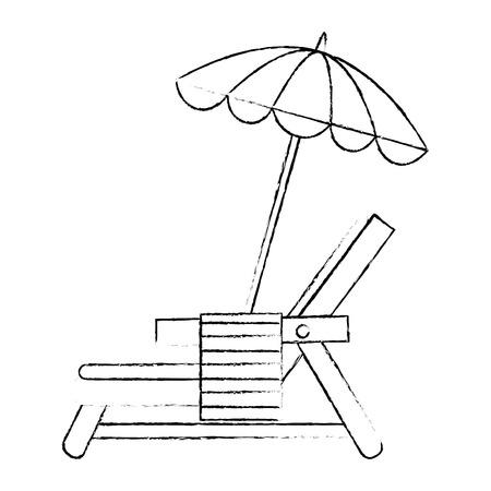 Beach chair with towel and umbrella vector illustration design Ilustração