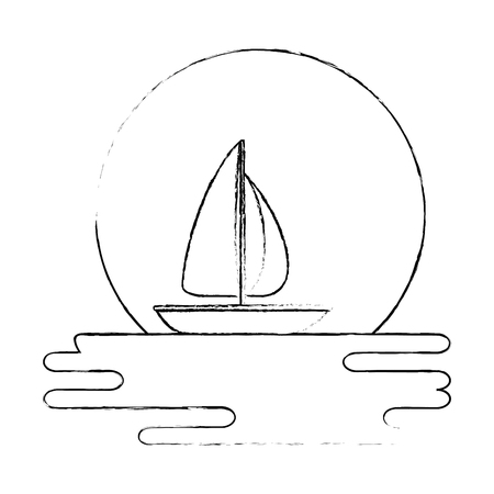Beach landscape scene with sea and sailboat vector illustration design
