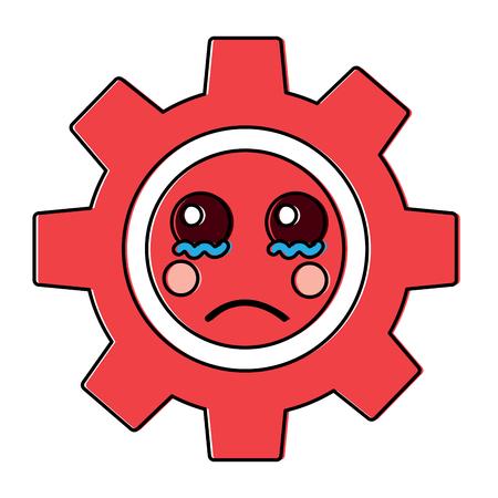 sad gear kawaii icon image vector illustration design
