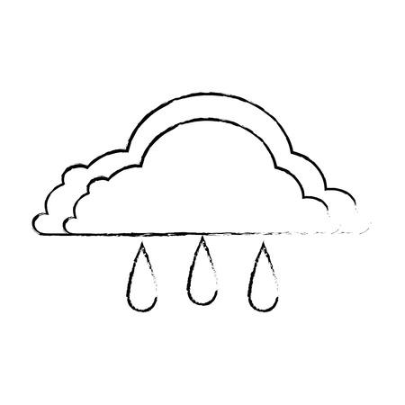 Weather cloud rainy icon vector illustration design Çizim
