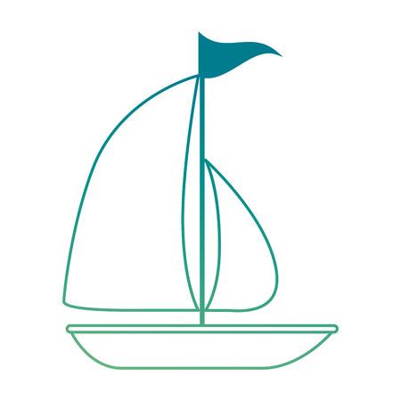 Vector de illustratieontwerp van het zeilboot de zomer geïsoleerd pictogram