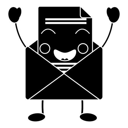 Happy message envelope kawaii icon image vector illustration design
