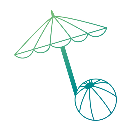 beach umbrella with balloon vector illustration design Illustration