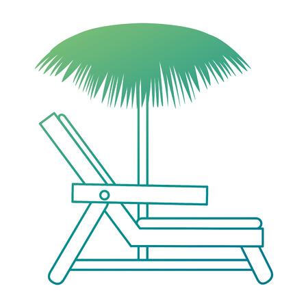 Beach chair with umbrella vector illustration design Illustration