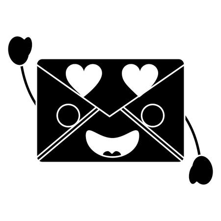 message envelope heart eyes    kawaii icon image vector illustration design