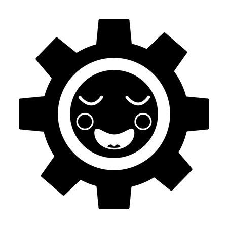 happy gear kawaii icon image vector illustration design Vectores