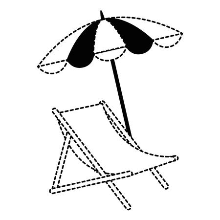 strandstoel met paraplu vectorillustratie ontwerp