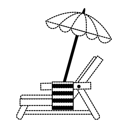 beach chair with towel and umbrella vector illustration design Stock Vector - 93726495