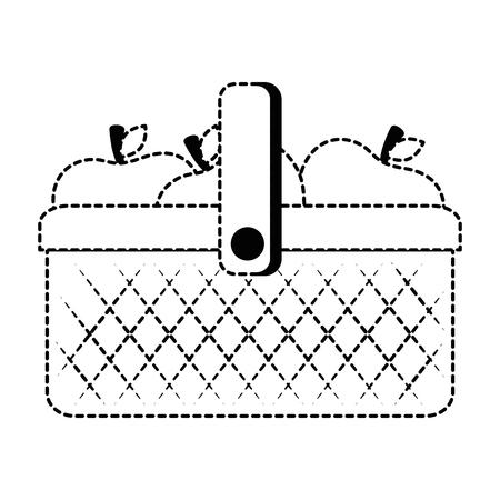 plastic basket picnic with apples vector illustration design Stock Vector - 93726515