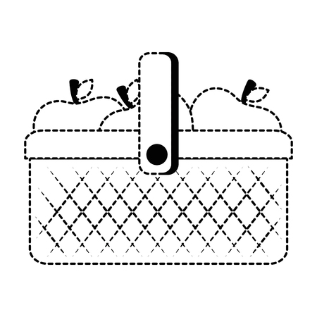 plastic basket picnic with apples vector illustration design Illustration