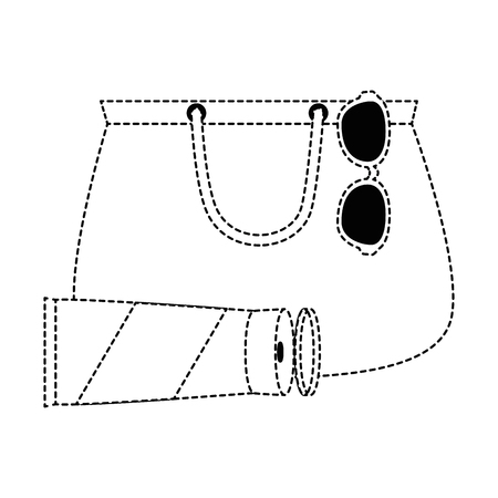 handbag female with sunglasses and sunscreen vector illustration design Ilustração