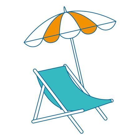 sedia di spiaggia con progettazione dell'illustrazione di vettore dell'ombrello
