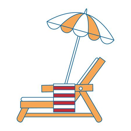 strandstoel met handdoek en paraplu vector illustratie ontwerp Stock Illustratie