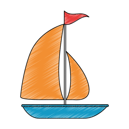 Ontwerp van de het pictogram vectorillustratie van de zeilboot het zomer geïsoleerde Stock Illustratie