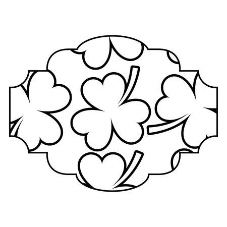 label decoration pattern clover st patrick day vector illustration outline image