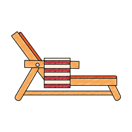 beach chair with towel vector illustration design Stock Illustratie