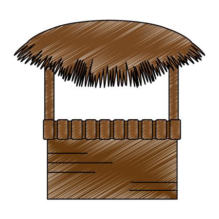 wooden kiosk and palm leaves vector illustration design