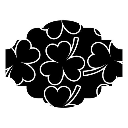 label decoration pattern clover st patrick day vector illustration black background