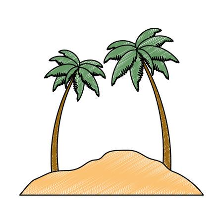 strand landschap scène pictogram vector illustratie ontwerp