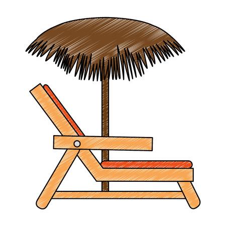 Strandstoel met paraplu vectorillustratie ontwerp Stockfoto - 93726457