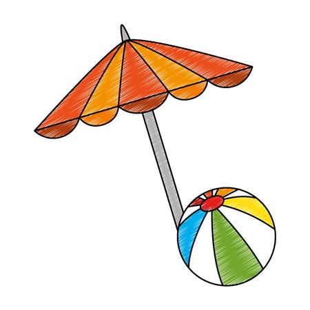 beach umbrella with balloon vector illustration design Illustration
