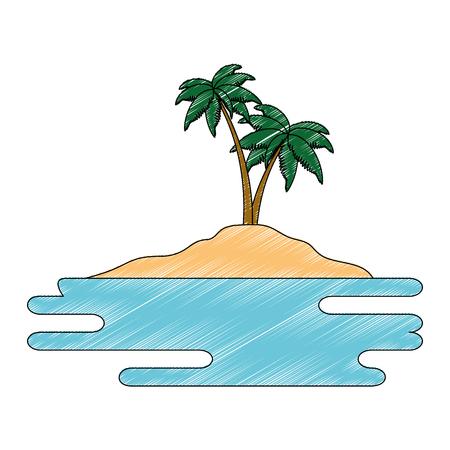 beach landscape scene with sea vector illustration design