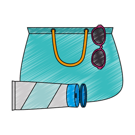handbag female with sunglasses and sunscreen vector illustration design Ilustração